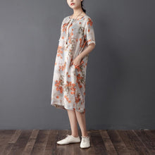 Load image into Gallery viewer, Women Summer Round Neck Short Sleeve Printed Dress