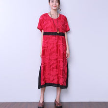 Load image into Gallery viewer, Summer Round Neck Short Sleeve Casual Embroidery Dress
