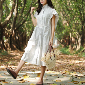 Women Summer Polo Collar Pockets Printing Lacing Short Sleeve Dress