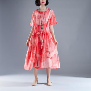Short Sleeve Lacing Summer Pleated Casual Red Dress