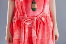 Load image into Gallery viewer, Short Sleeve Lacing Summer Pleated Casual Red Dress