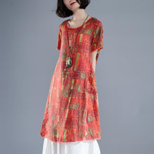 Load image into Gallery viewer, Short Sleeve Slit Summer Printed Casual Dress