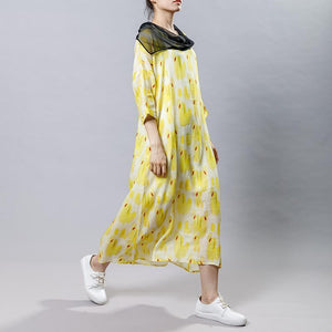 Irregular Collar Splicing Printed Fashion Dress