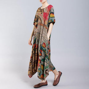 Irregular Hem Printed Loose Casual Dress