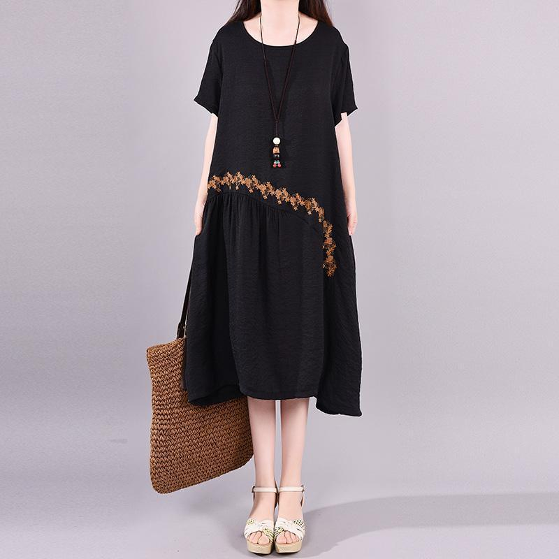 Italian Long Shirts 18th Century Spliced Embroidery Round Neck Casual Dress