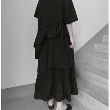 Load image into Gallery viewer, Italian O Neck Ruffles Asymmetric Tunic Top Fashion Ideas Black Blouses