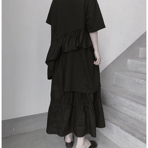 Italian O Neck Ruffles Asymmetric Tunic Top Fashion Ideas Black Blouses