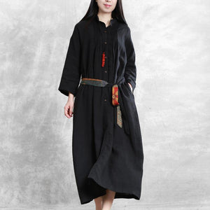 Italian Stand tunic linen clothes For Women Shape black Dress