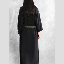 Load image into Gallery viewer, Italian Stand tunic linen clothes For Women Shape black Dress