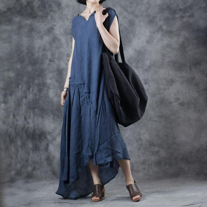 Italian blue clothes sleeveless v neck asymmetric loose summer Dresses