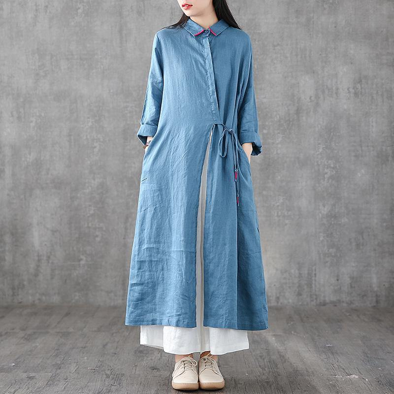Italian blue linen Robes lapel drawstring Traveling Dress