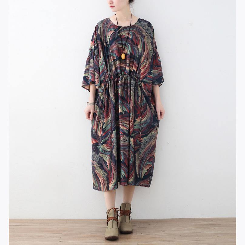 Italian blue print chiffon outfit 2019 Cotton Traveling Summer O neck Batwing Sleeve Dress