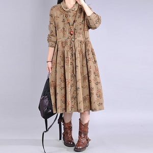 Italian chocolate print cotton clothes For Women Peter pan Collar Maxi Dress