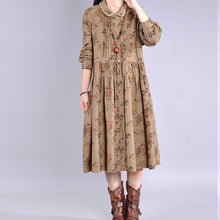 Load image into Gallery viewer, Italian chocolate print cotton clothes For Women Peter pan Collar Maxi Dress