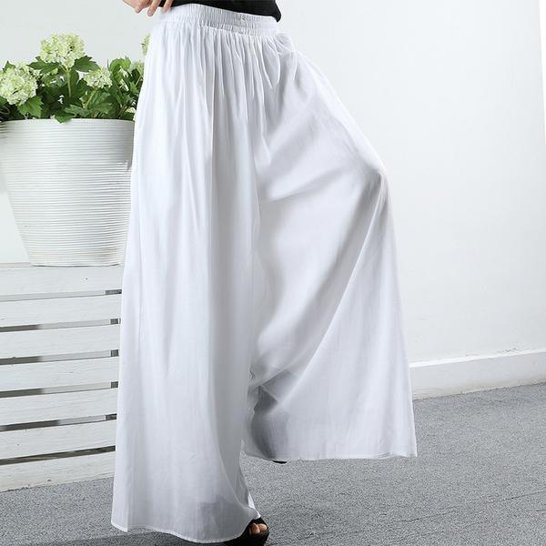 Italian cotton linen Metropolitan Museum Summer white Gauzy Loose Straight Pants