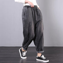 Load image into Gallery viewer, Italian denim gray trousers elastic waist Tutorials trousers
