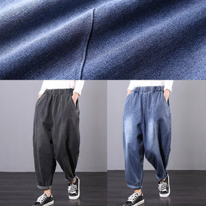 Italian denim gray trousers elastic waist Tutorials trousers
