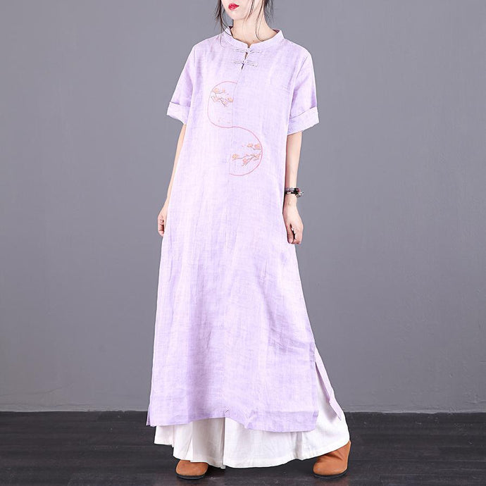Italian embroidery Chinese Button linen Robes design light purple Dress summer