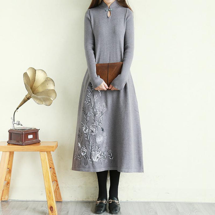 Italian embroidery cotton stand collar tunic dress Tutorials gray Traveling Dress