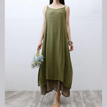 Load image into Gallery viewer, Italian false two pieces cotton clothes Women Tunic Tops army green Plus Size Dresses summer
