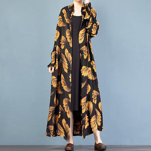 Italian gold print Fashion trench coat Gifts stand collar spring outwear