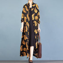 Load image into Gallery viewer, Italian gold print Fashion trench coat Gifts stand collar spring outwear