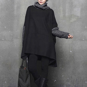 Italian high neck Cotton side open clothes Women Inspiration gray thick woolen Dresses