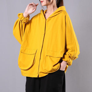 Italian hooded Batwing Sleeve cotton spring Blouse Work yellow tops