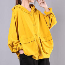 Load image into Gallery viewer, Italian hooded Batwing Sleeve cotton spring Blouse Work yellow tops