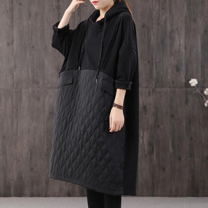 Italian hooded pockets cotton fall outfit black cotton robes Dresses