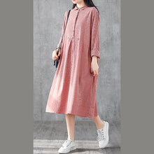Load image into Gallery viewer, Italian lapel patchwork linen clothes For Women design red plaid Dress