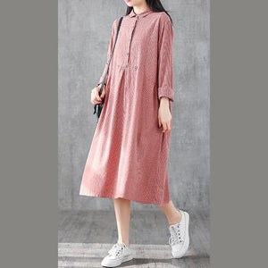 Italian lapel patchwork linen clothes For Women design red plaid Dress