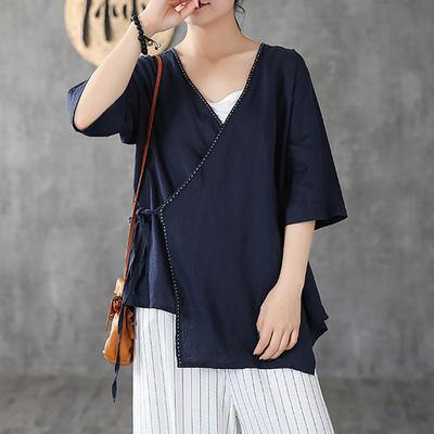 Italian linen Long Shirts Fitted Linen Half Sleeve Solid Casual Blouse