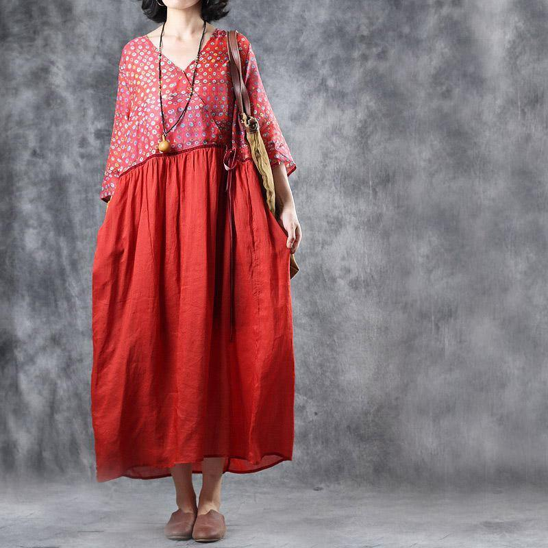 Italian linen outfit Omychic Ramie red Print V-Neck Drawstring Pockets Loose Dress