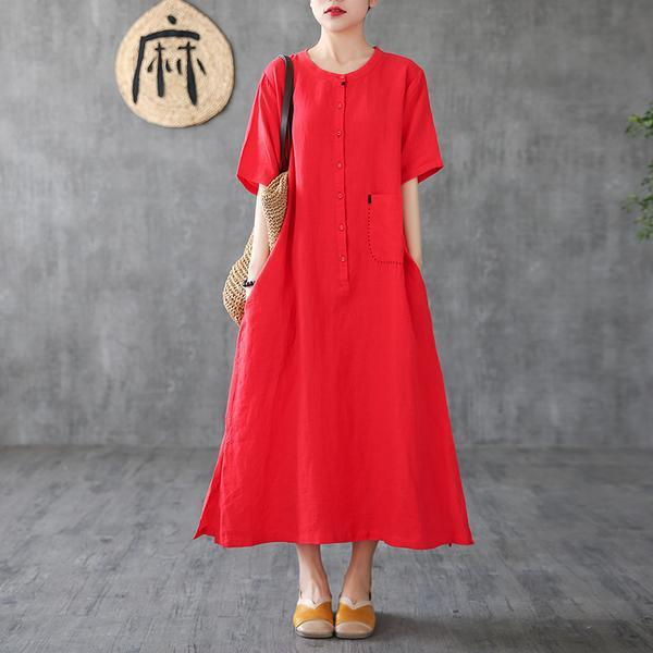 Italian linen red dress Fashion A-Line Loose Short Sleeve Embroidery Dress