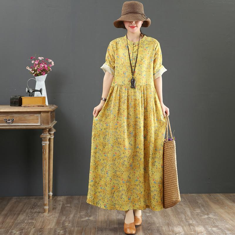 Italian o neck baggy linen dress stylish Neckline yellow print Plus Size Dress Summer