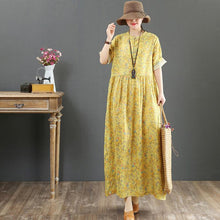 Load image into Gallery viewer, Italian o neck baggy linen dress stylish Neckline yellow print Plus Size Dress Summer