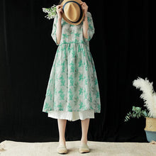 Load image into Gallery viewer, Italian o neck half sleeve linen dresses green print Dresses summer