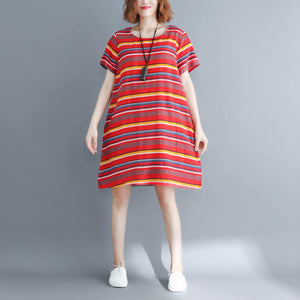 Italian o neck linen Long Shirts Casual Fashion Ideas red striped A Line Dress summer