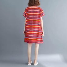 Load image into Gallery viewer, Italian o neck linen Long Shirts Casual Fashion Ideas red striped A Line Dress summer