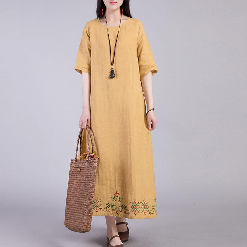 Italian o neck linen clothes Shirts yellow embroidery Dresses summer
