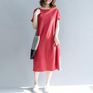 Italian o neck pockets cotton tunic dress Mom Inspiration red A Line Dresses