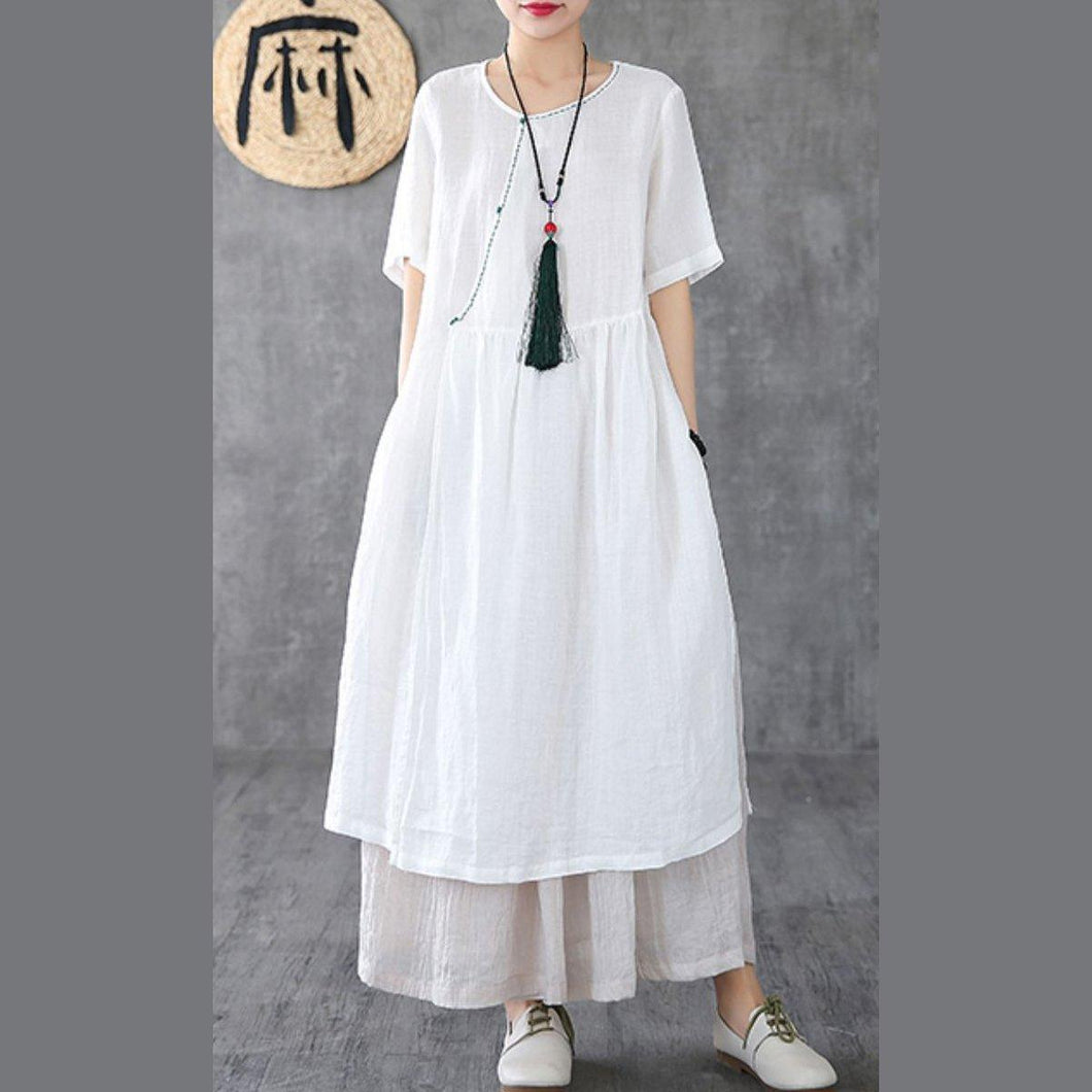 Italian o neck pockets linen clothes For Women Runway white Dresses