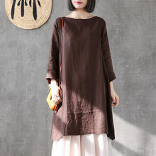 Load image into Gallery viewer, Italian o neck side open linen Robes Neckline chocolate Dress summer