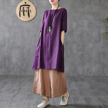 Load image into Gallery viewer, Italian purple linen Robes o neck pockets Plus Size summer Dress