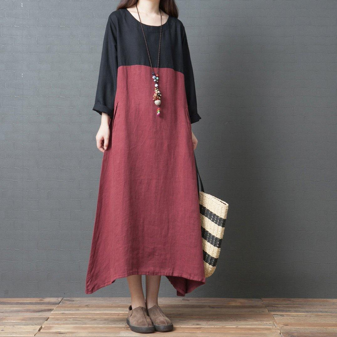 Italian red linen Wardrobes Organic Neckline o neck patchwork asymmetric robes Dresses