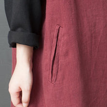 Load image into Gallery viewer, Italian red linen Wardrobes Organic Neckline o neck patchwork asymmetric robes Dresses