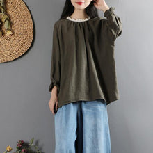 Laden Sie das Bild in den Galerie-Viewer, Italian ruffles o neck linen long sleeve shirts pattern army green tops