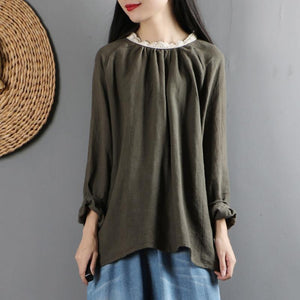 Italian ruffles o neck linen long sleeve shirts pattern army green tops