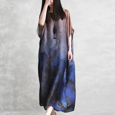 Italian silk clothes top quality Round Neck Loose Batwing Sleeve Dress